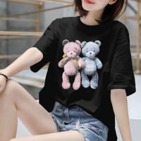 Loose Clothing Round Neck Women Fashion T-Shirt - Black