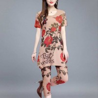Flower Printed Two Pieces Summer Wear Women Fashion Suit - Brown