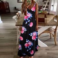 V Neck Sleeveless Beach Wear Maxi Dress - Multicolor