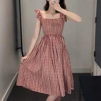 Check Prints Square Neck A-Line Mini Dress - Red
