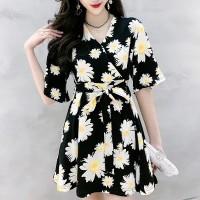 Wrapped V Neck Short Sleeves A-Line Mini Dress