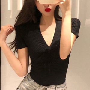 Ribbed Body Fitted Women Fashion Blouse Top - Black
