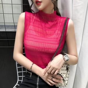 Chiffon Stand Neck Sleeveless Thin Fabric Blouse Top - Rose Red
