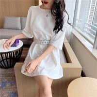 Waist Belt Round Neck Half Sleeves Mini Dress - White