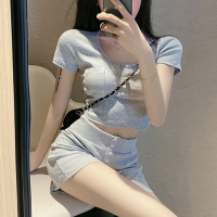 Short Sleeves Body Fitted Two Pieces Suit - Gray