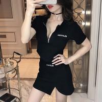 Zipper Closure Short Sleeves Mini Dress
