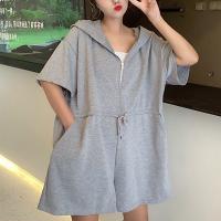 Drawstring  Waist Solid Color MIni Romper Dress - Gray