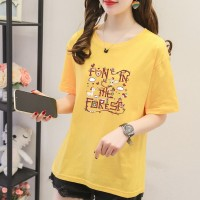 Alphabetic Printed Round Neck Full Sleeves T-Shirt - Yellow