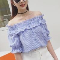 Off Shoulder Half Sleeves Stripes Pattern Mini Top - Blue