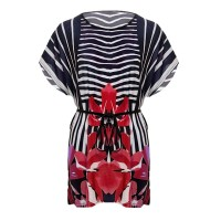 Round Neck Striped Printed Summer Blouse Top - Red