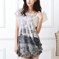 Digital Prints Cap Sleeves Round Neck Blouse Top - Gray