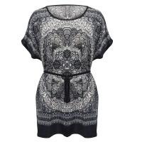 Digital Prints Cap Sleeves Round Neck Blouse Top - Dark Gray