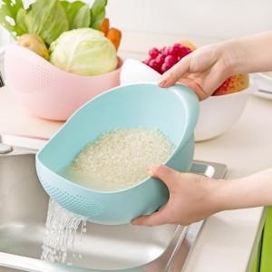 Multipurpose Rice Vegetable Colander Strainer Drain Basket - Blue