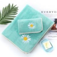 2 Pcs Double Size Set Easy Dry Microfiber Absorbent Bath Towel - Sea Green