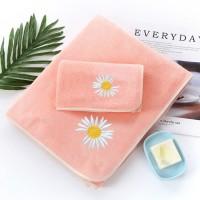 2 Pcs Double Size Set Easy Dry Microfiber Absorbent Bath Towel - Pink
