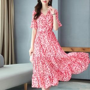 Flower Printed Chiffon New Temperament Long Dress - Pink