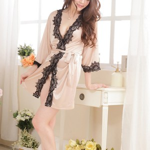 Lace Patched Women Luxury Wear Sexy Lingerie Set - Khaki
