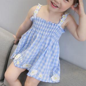Cute Baby Girl Princess Floral Dress - Blue