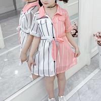 Shirt Collar Stripes Print Cute Baby Girl Dress