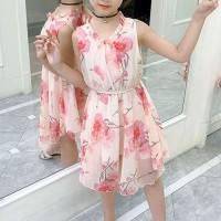 V Neck Sleeveless Floral Printed Chiffon Mini Dress