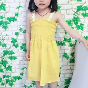 Shoulder Ruffled Hem Girls Dress - Yellow