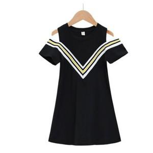 Cold Shoulder Round Neck Mini Dress - Black
