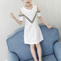 Cold Shoulder Round Neck Mini Dress - White