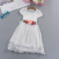 See Through Lace Cute Princess Floral Patched Dress - White