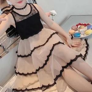 Ruffled Hem Sleeveless Cute Girls Party Dress - Apricot