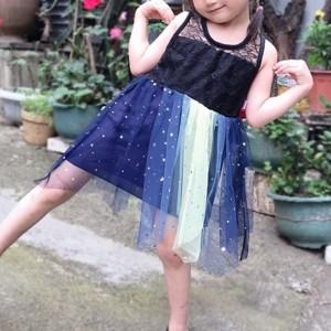 Ruffle Hem Sleeveless Cute Girls Party Dress - Blue