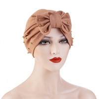 Sequins Decorative Bow Patched Solid Color Head Band - Brown