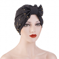 Sequins Decorative Bow Patched Solid Color Head Band - Black
