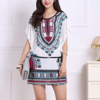 Round Neck Bohemian Graphical Printed Mini Dress - Green