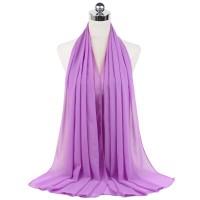 Chiffon Solid Color Muslim Women Scarf - Purple