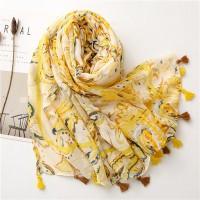 Tassel Bohemian Graphic Printed Muslim Women Fashion Scarf - Yellow