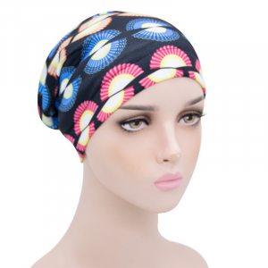 Printed Graphic Women Fashion Fitted Head Band Cap - Blue Pink