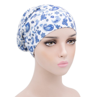 Printed Graphic Women Fashion Fitted Head Band Cap - Cotton White
