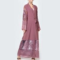 Waist Band Full Sleeves Outwear Women Fashion Coat Abaya - Pink