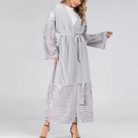 Waist Band Full Sleeves Outwear Women Fashion Coat Abaya - Gray