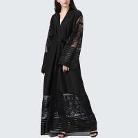 Waist Band Full Sleeves Outwear Women Fashion Coat Abaya - Black