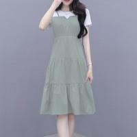 Round Neck Contrast Women Fashion Doll Style Dress - Green