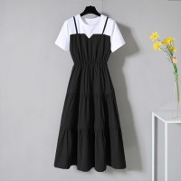 Round Neck Contrast Black and White Doll Dress