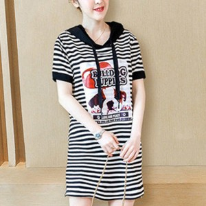 Hoodie Neck Stripes Printed Short Sleeves Mini Dress - Black and White