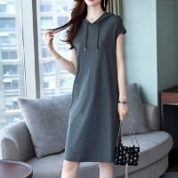 Sleeveless Solid Color Straight Mini Dress - Gray