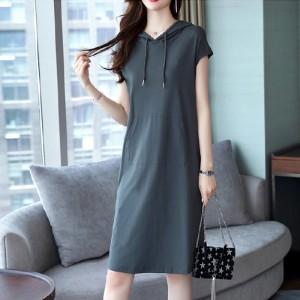 Sleeveless Solid Color Straight Mini Dress - Blue