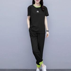 Contrast Round Neck Sports Wear Two Pieces Dress - Black