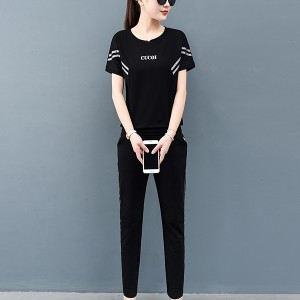 Casual Women Matching Set Two Pieces Short Sleeved Sports Suit - Black