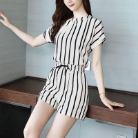 O Neck Striped Mini Romper Dress - White