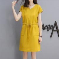 Notched Neck Short Sleeves Mini Dress - Yellow