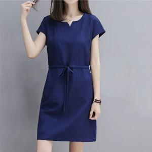 Notched Neck Short Sleeves Mini Dress - Blue
